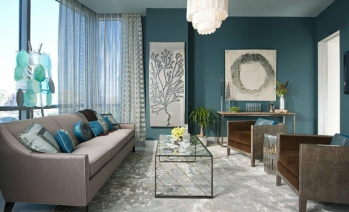 couleur-peinture-salon-bleu-petrole-canape-gris-fauteuils-marron-deco-tres-creative