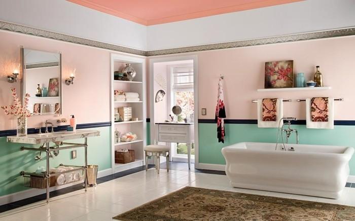 couleur salle de bain rose lavabo console coiffeuse - Salle De Bain Baignoire Rose