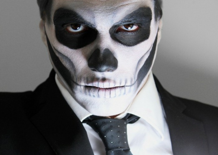 deguisement-halloween-facile-squelette-homme-idee-maquillage-halloween-interessante