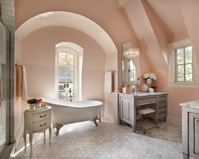 Peinture salle de bain 80 photos qui vont vous faire craquer - Meuble salle de bain rose ...