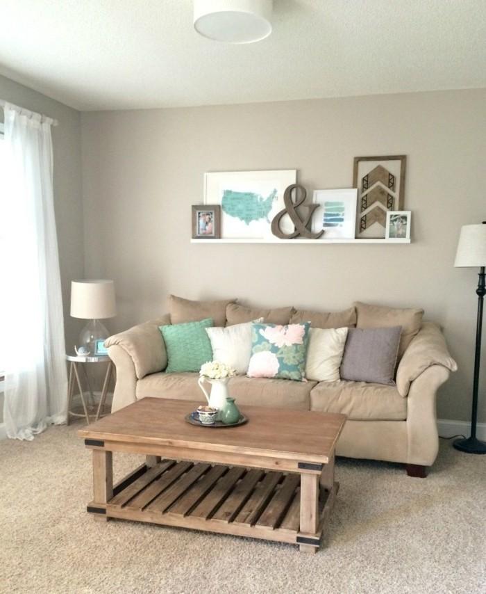 idee-interessante-et-tres-elegante-couleur-peinture-salon-gris-jolies-elements-decoratifs-canape-beige-table-en-bois-diy