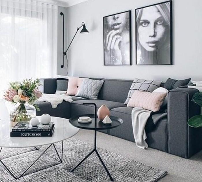magnifique-idee-couleur-peinture-salon-grise-enorme-canape-gris-fonce-table-design-interessant-tableaux-artistiques