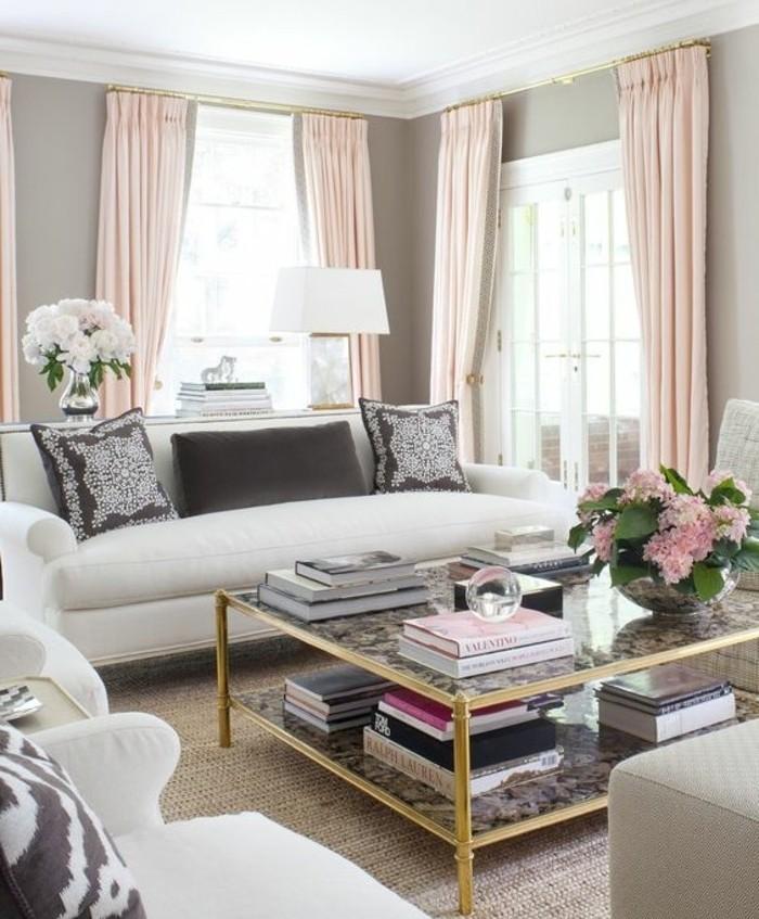 sublime-idee-peinture-salon-grise-rideaux-legers-couelur-corail-canapes-blancs-table-joli-design-elegant