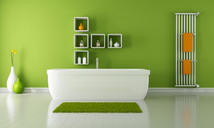suggestion-salle-de-bain-verte-ambiance-zen-décor-épuré-étagères-blanches-baignoire-à-piser-blanche