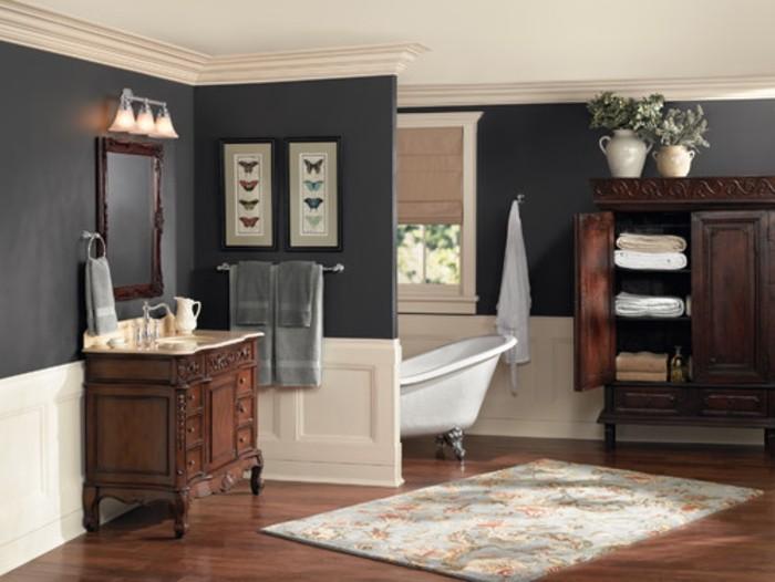 formidable-dée-peinture-salle-de-bain-couleur-taupe-baignoire-à-poser-meubles-salle-de-bain-en-bois-au-goût-vintage