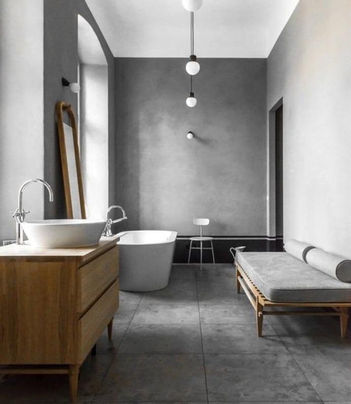 formidable-idée-salle-de-bain-taupe-baignoire-blanche-et-vasque-à-poser-espace-de-détente