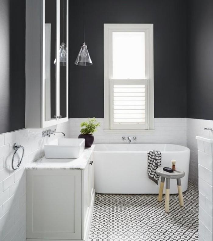 idée-géniale-salle-de-bain-couleur-taupe-baignoire-à-poser-vasque-à-poser-idée-carrelage-très-esthétique