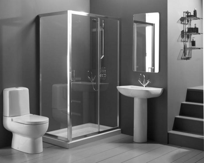 idée-magnifique-salle-de-bain-couleur-grise-cabine-de-douche-WC-lavabo-colonne
