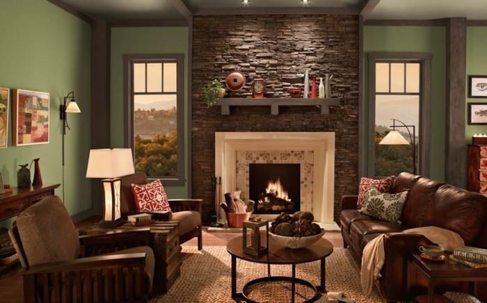 idee-peinture-salon-a-admirer-mur-en-vert-deux-fauteuils-table-a-cafe-en-bois-cheminee-tres-romantique-encastree-dans-un-mur-decoratif-en-pierre-ambiance-romantique