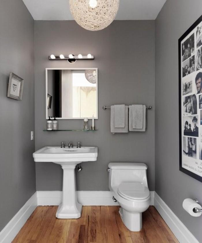 Deco Peinture Salle De Bain #1: Magnifique-idée-peinture-salle-de-bain-grise-miroir-