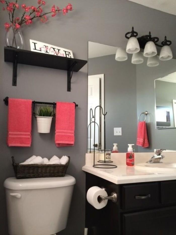 peinture-salle-à-manger-couleur-taupe-vasque-à-encastrer-jolis-accents-couleur-saumon