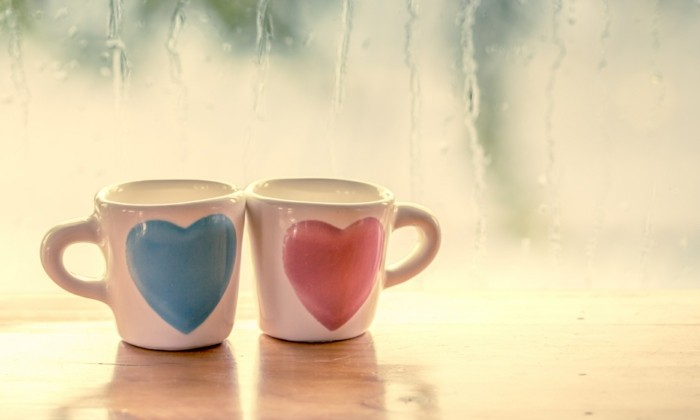 two lovely glass on rainy day window background