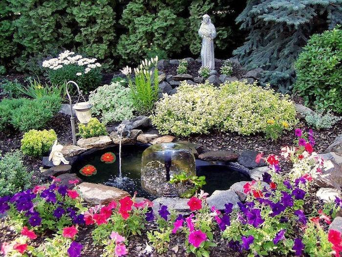 bassin-d-ornement-carpe-koi-fleurs