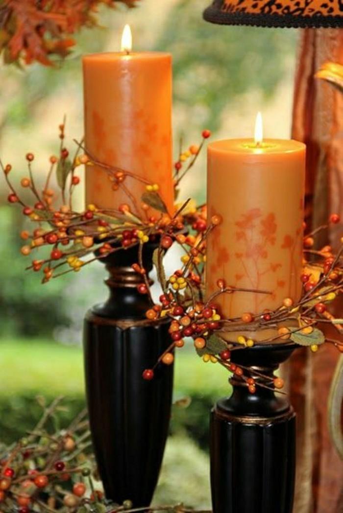 bougies-oranges-deco-halloween-en-orange-branches-d-automne-les-meilleures-idees