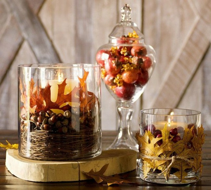 bricolage-d-automne-pour-la-table-bougies-decoratifs-feuilles-decedes
