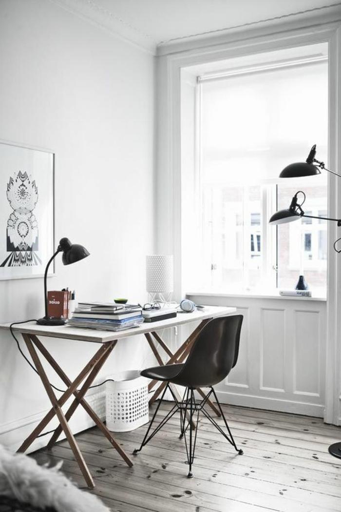 bureau-style-industriel-bureau-blanc-et-chaise-noire