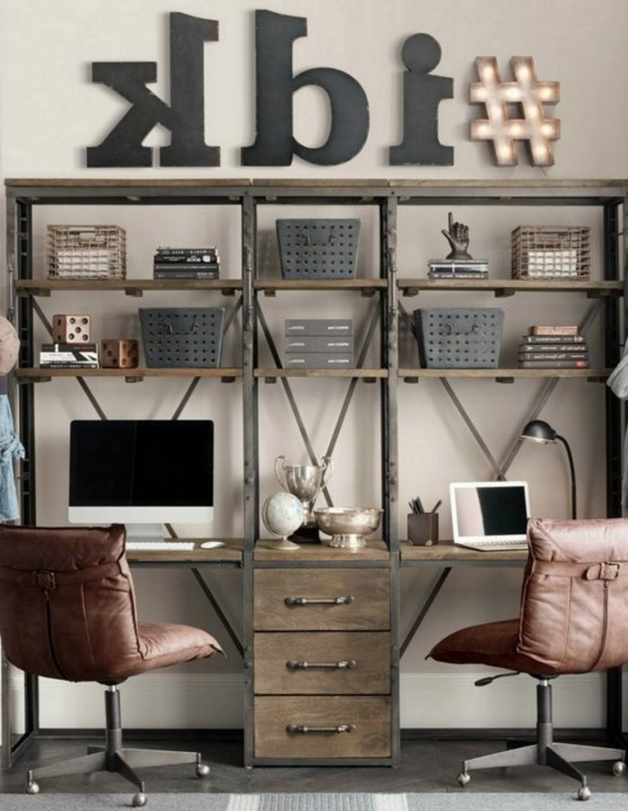 id es de d coration d 39 un bureau style industriel. Black Bedroom Furniture Sets. Home Design Ideas