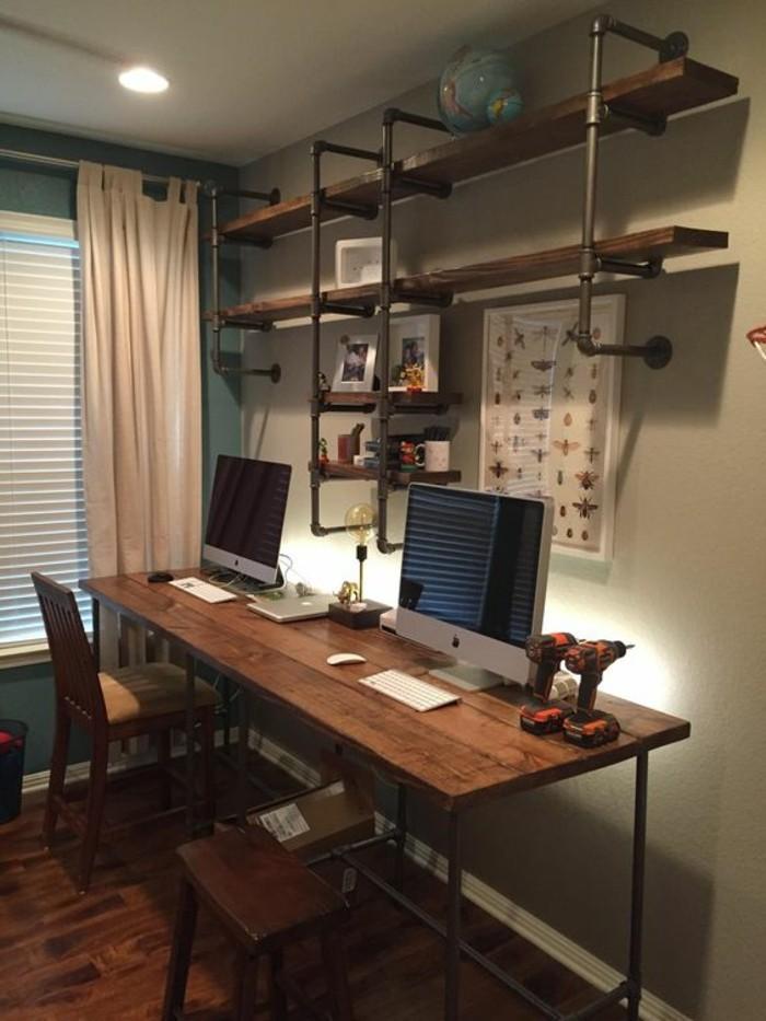 Id es de d coration d 39 un bureau style industriel - Bureau style industriel en metal et bois ...