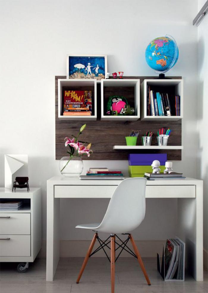 bureau design scandinave, office à la maison esprit nordique