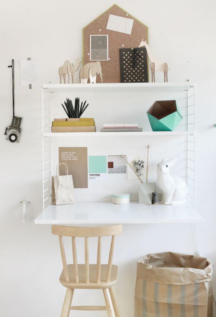 bureau-style-scandinave-pour-enfant-étagère-peinte-blanche