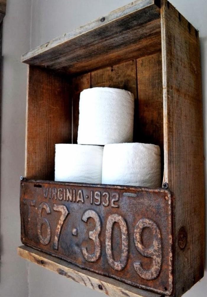 caisse en bois deco etagere wc design rangement toilettes diy