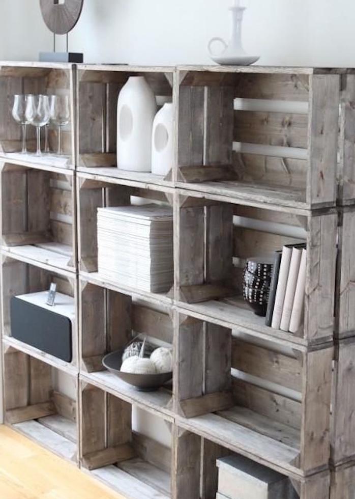 Merveilleux idee deco cagette bois 10 r aliser un meuble - Deco avec cagette bois ...