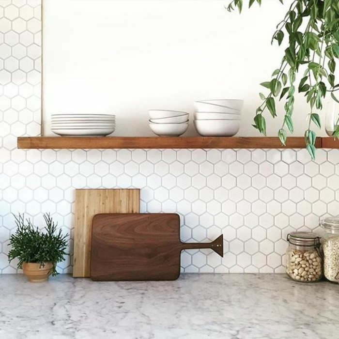Le carrelage hexagonal une tendance qui fait son grand for Decoration murale hexagonale