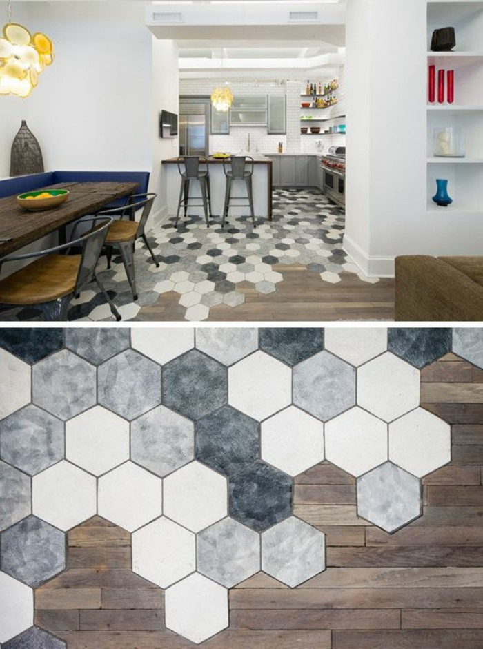 Le carrelage hexagonal une tendance qui fait son grand retour - Carrelage grand carreau ...