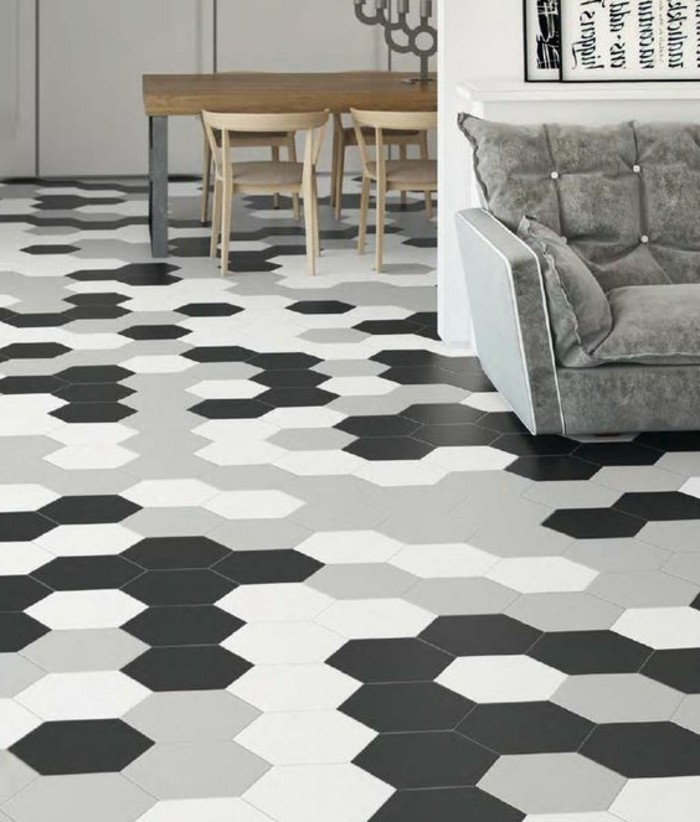 Le carrelage hexagonal une tendance qui fait son grand for Carrelage blanc hexagonal