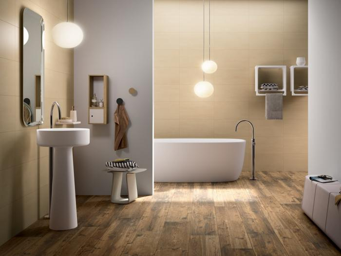 Le carrelage imitation bois en 46 photos inspirantes for Carrelage sol salle de bain blanc