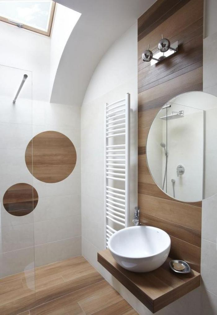 Le carrelage imitation bois en 46 photos inspirantes for Carrelage salle de bain mansardee
