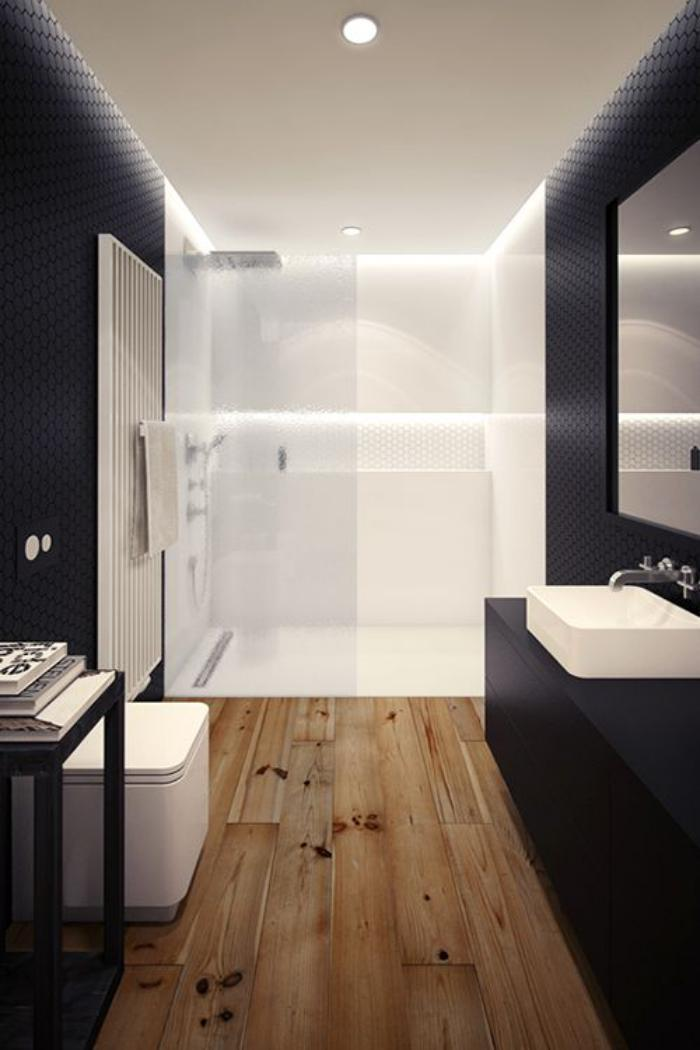 Le carrelage imitation bois en 46 photos inspirantes for Salle de bain sol blanc