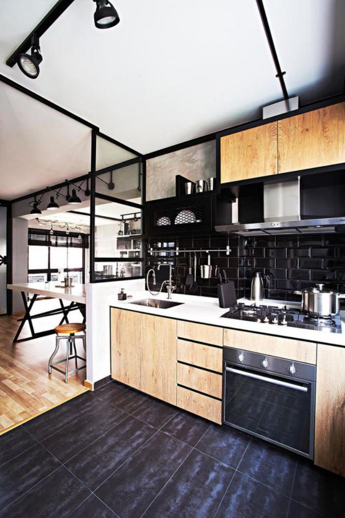 Emejing Cuisine Carrelage Noir Images - Design Trends 2017