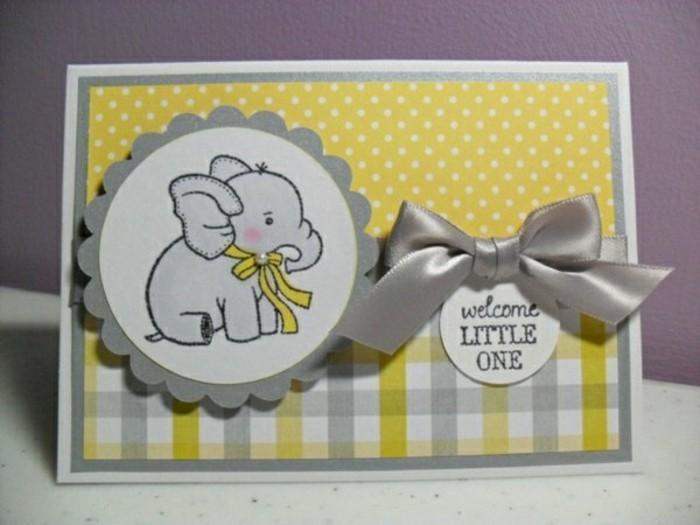 cartes-de-voeux-originales-avec-un-elephant-carte-en-jaune-et-gris