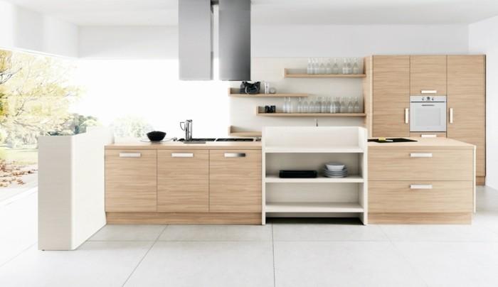 couleur-mur-cuisine-blanche-meubles-cuisine-en-bois-style-epuré