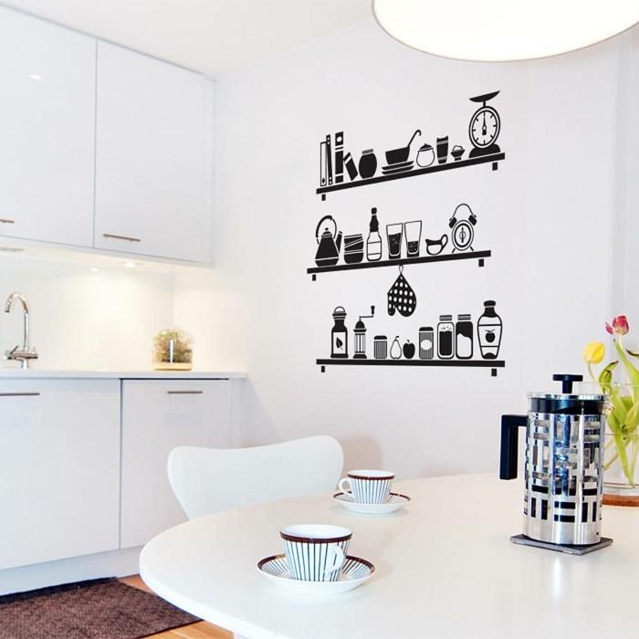 couleur-peinture-cuisine-blanche-idee-originale-sticker-mural-noir-imitant-des-etageres-garnies-de-vaisselle