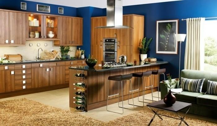 couleur-peinture-cuisine-bleu-foncé-meubles-cuisine-en-bois-tapis-marron-atmosphere-cosy-cuisine-tres-esthetiquement-aménagé