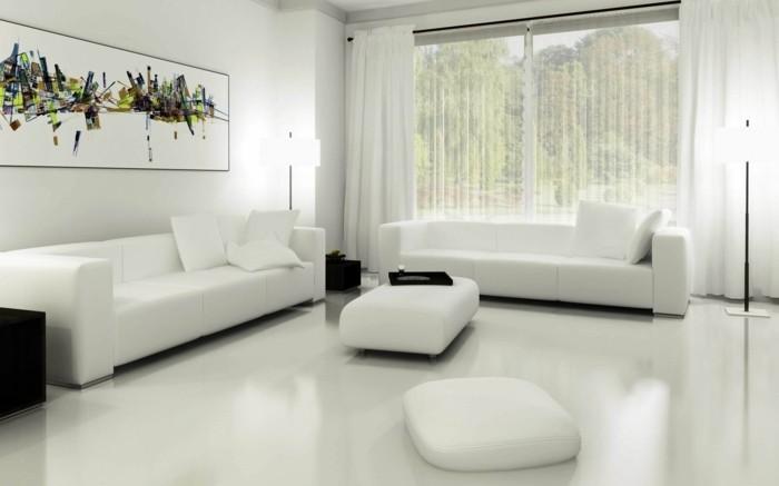 couleur-peinture-salon-blanche-decor-simple-aux-lignes-epurées-tableau-qui-ajoute-de-la-couleur