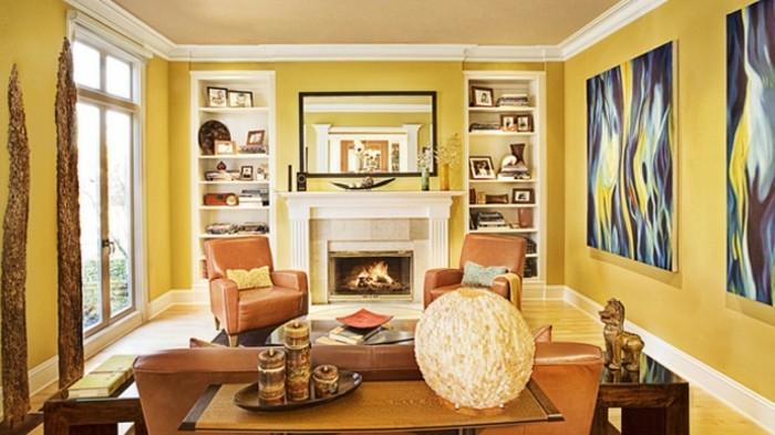 couleur-peinture-salon-jaune-deco-tres-riche-et-interessante-sensation-cosy