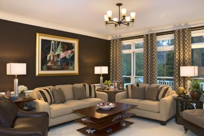 couleur-peinture-salon-marron-canapes-beige-fauteuil-marron-table-a-trois-niveaux-tableau-d-art-contemporain