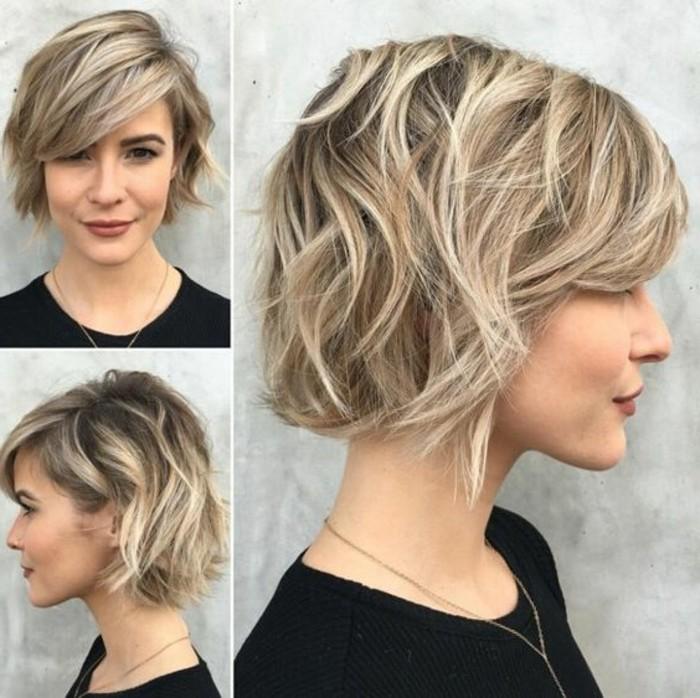 coupe-de-cheveux-courte-femme-balayage-blond-levres-rouges-fonces