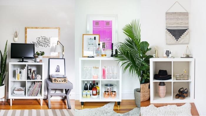 décoration chambre coucher avec étagère ikea meuble rangement pratique style minimaliste