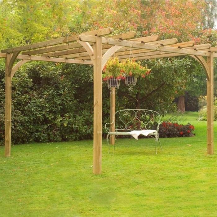 excellente-suggestion-pergola-bois-a-fabriquer-soi-meme-joli-banc-en-fer-forge-pergola-jardin