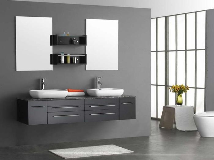 excellente-suggestion-salle-de-bain-couleur-grise-double-vasque-à-poser-deux-miroirs-sans-encadrement-deisgn-épuré-esthétique