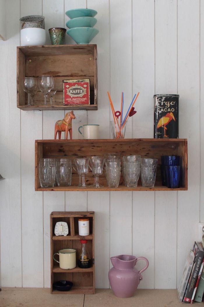 DIY Recycler Une Caisse En Bois Deco En Idées Archzinefr - Meuble bibliotheque original pour idees de deco de cuisine
