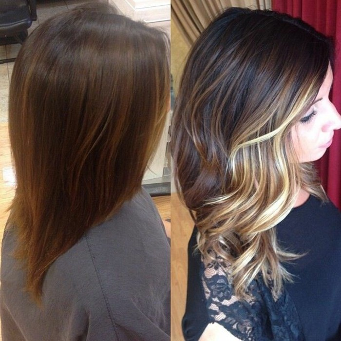 the gallery for balayage before and after dark hair. Black Bedroom Furniture Sets. Home Design Ideas