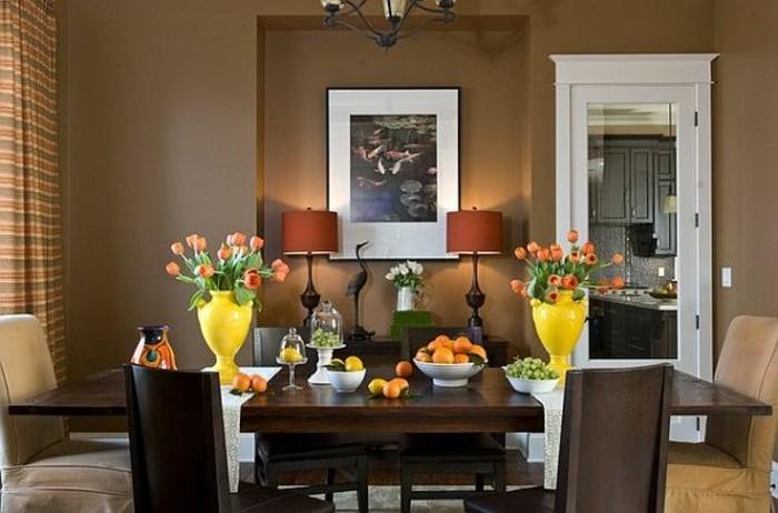 formidable idee deco salle a manger marron, decor raffine, élégant
