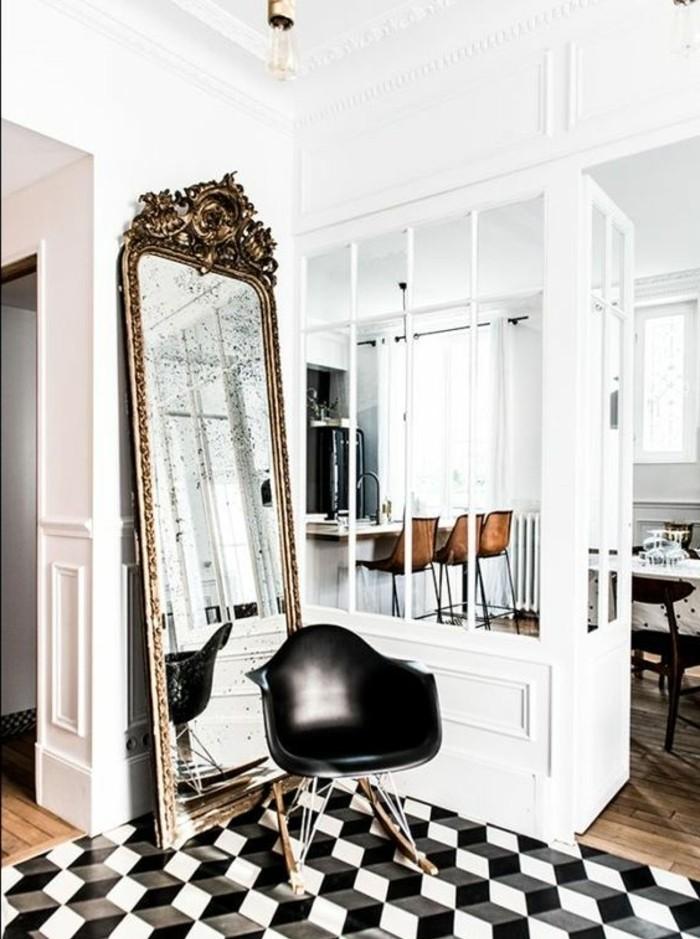 Wonderful peinture blanche effet miroir 1 grand miroir ancien appartement p - Peindre miroir ancien ...