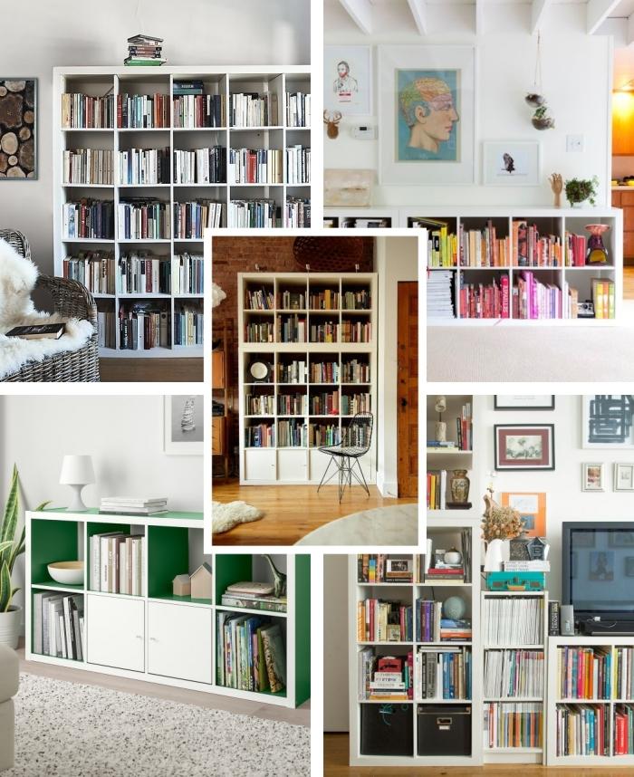 idée bibliothèque minimaliste rangement livres collection meuble ikea étagère blanche configuration