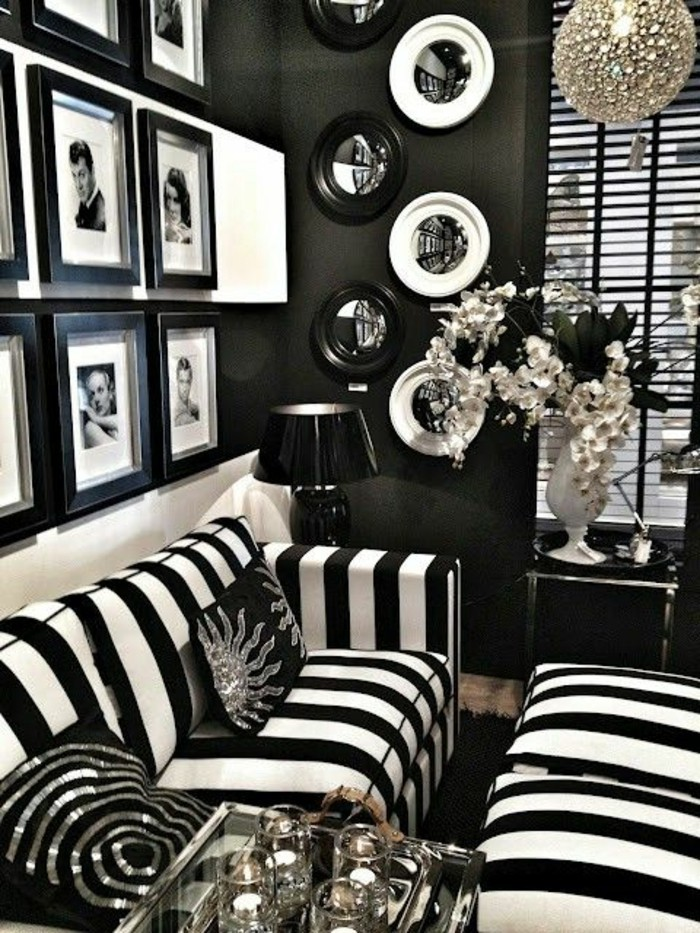 idee-magnifique-couleur-peinture-salon-en-noir-de-nouveau-un-mariage-du-noir-et-du-blanc-pour-creer-un-decor-exquis-deco-murale-interessant-inspiree-de-l-amour-du-cinema-du-siecle-precedent-decor-vinta